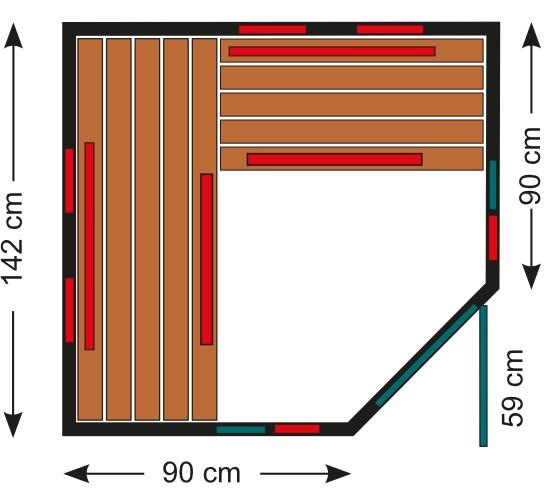 Infrarotkabine 140 Eck GT